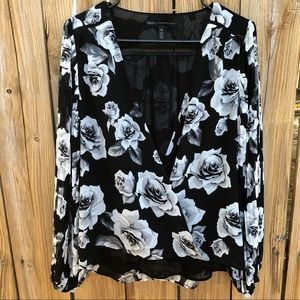 WHBM Long Sleeve Floral Top Size 10